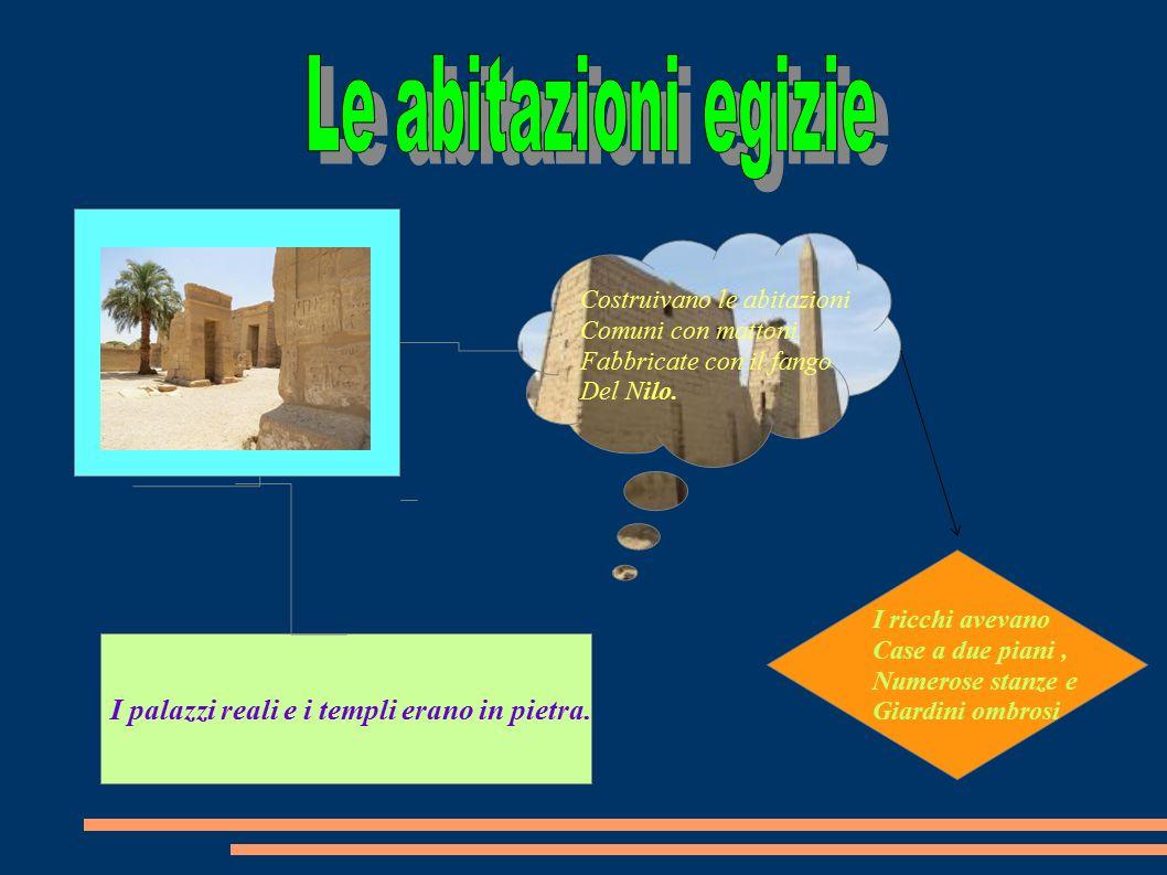 Le abitazioni egizie I palazzi reali e i templi erano in pietra.