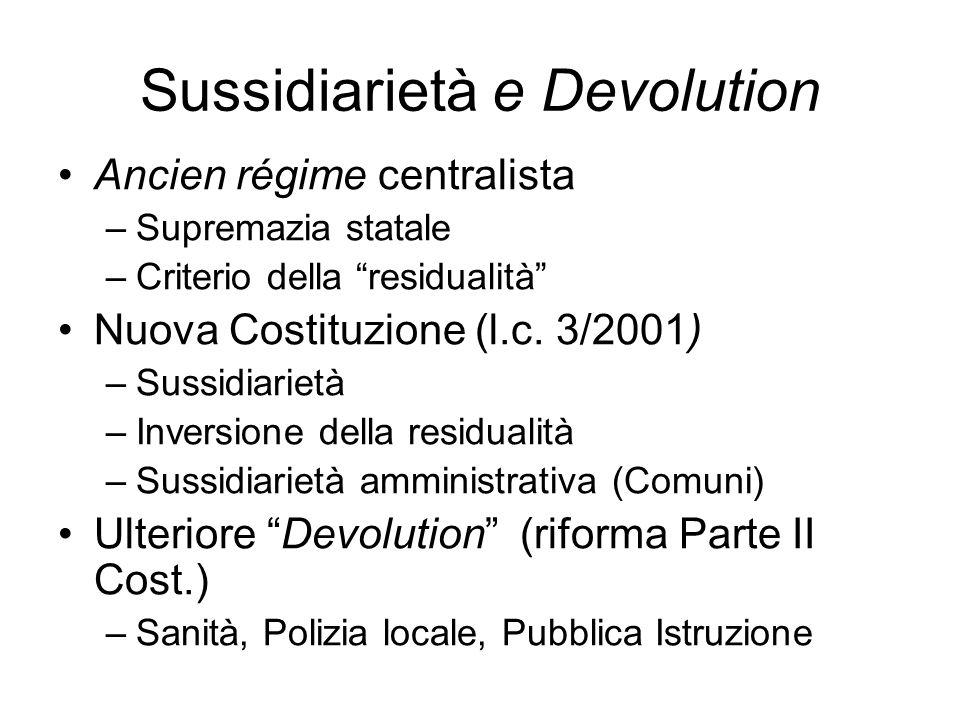 Sussidiarietà e Devolution