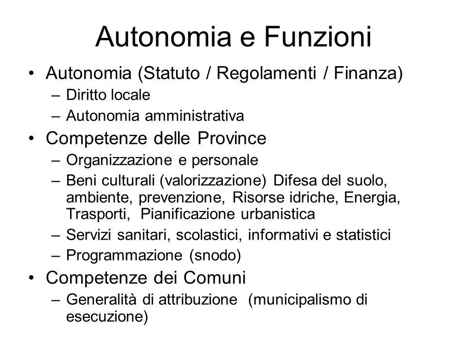 Autonomia e Funzioni Autonomia (Statuto / Regolamenti / Finanza)