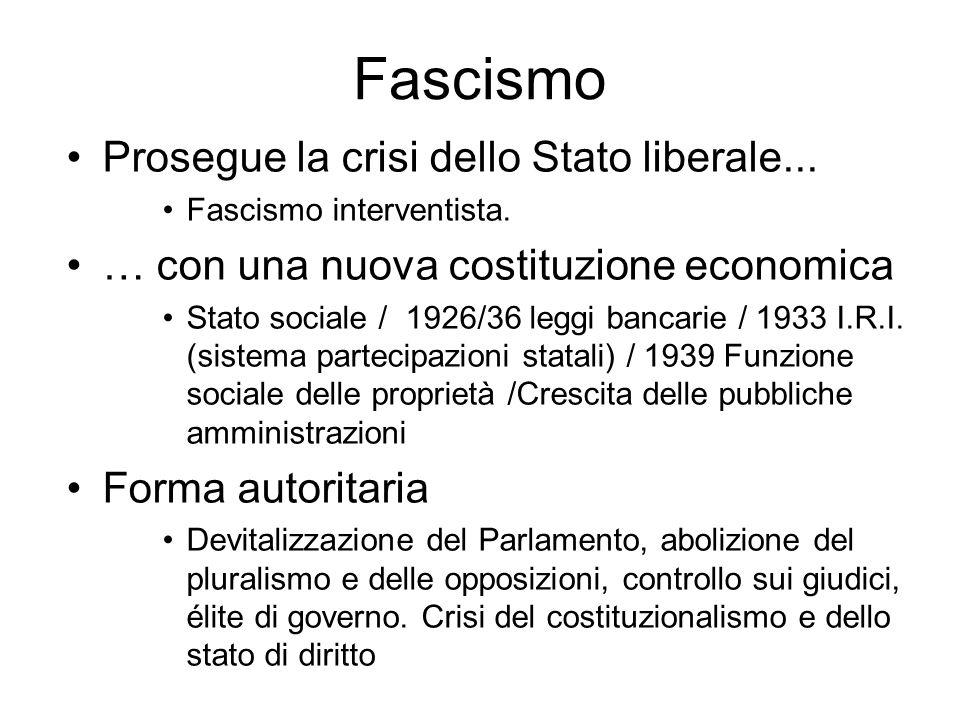 Fascismo Prosegue la crisi dello Stato liberale...