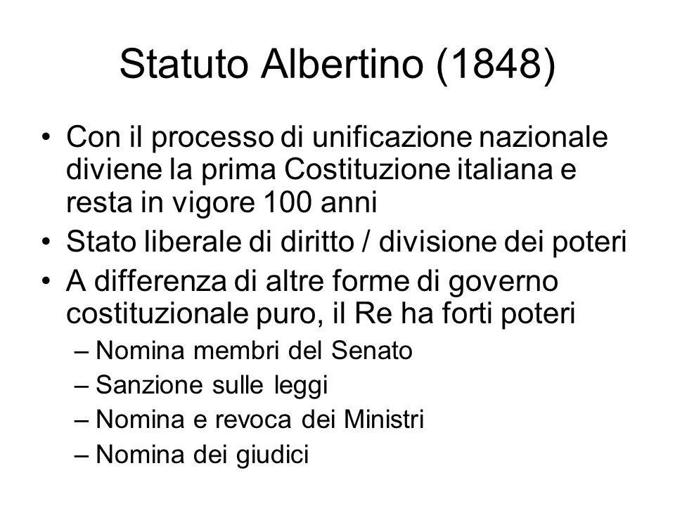 Statuto Albertino (1848) Con il processo di unificazione nazionale diviene la prima Costituzione italiana e resta in vigore 100 anni.