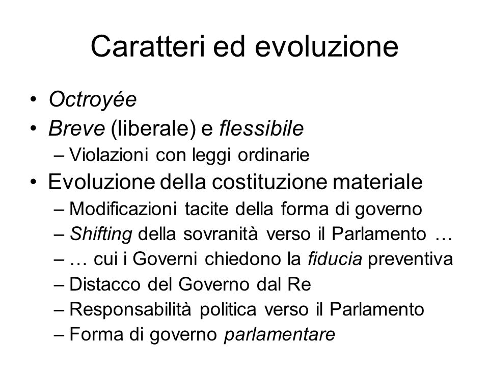Caratteri ed evoluzione