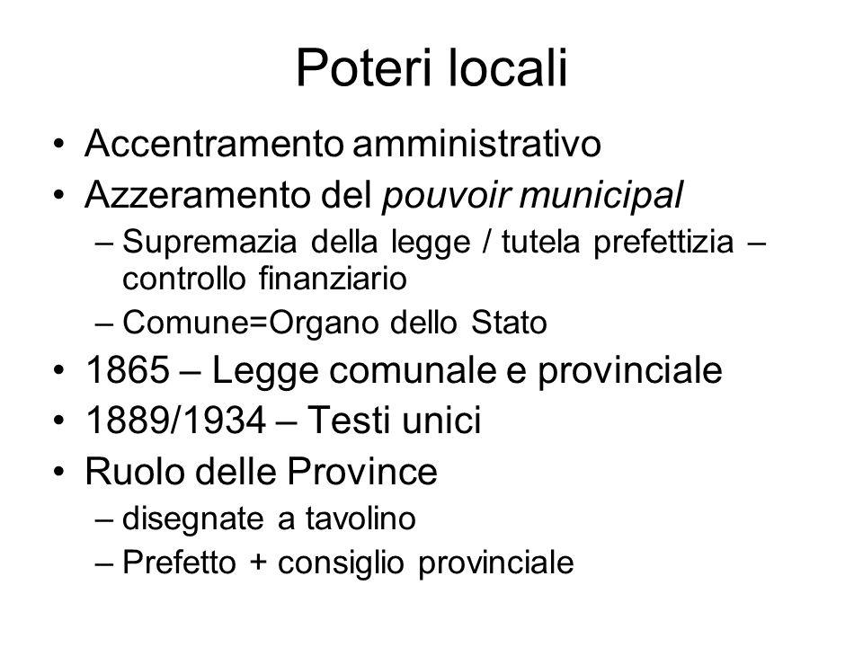 Poteri locali Accentramento amministrativo