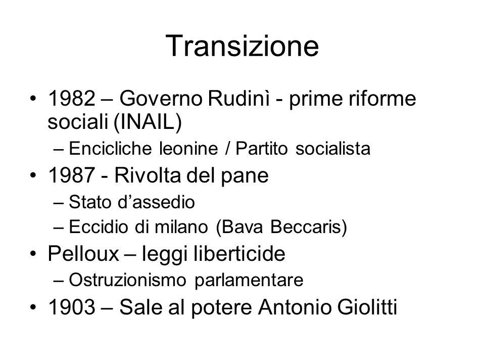 Transizione 1982 – Governo Rudinì - prime riforme sociali (INAIL)