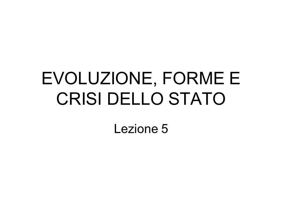 EVOLUZIONE, FORME E CRISI DELLO STATO