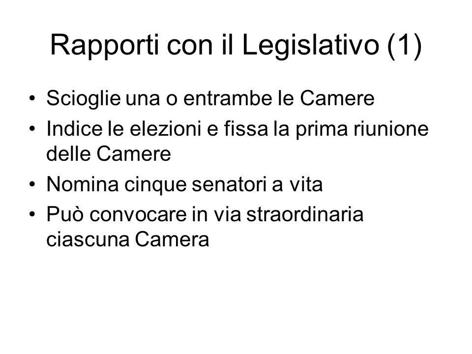 Rapporti con il Legislativo (1)
