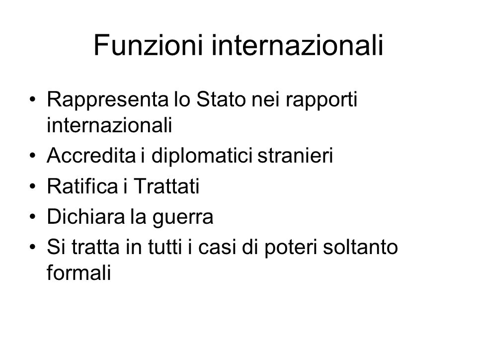 Funzioni internazionali