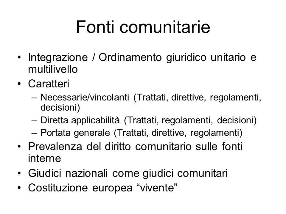Fonti comunitarie Integrazione / Ordinamento giuridico unitario e multilivello. Caratteri.