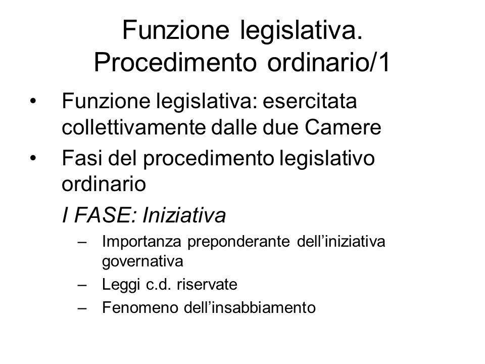 Funzione legislativa. Procedimento ordinario/1