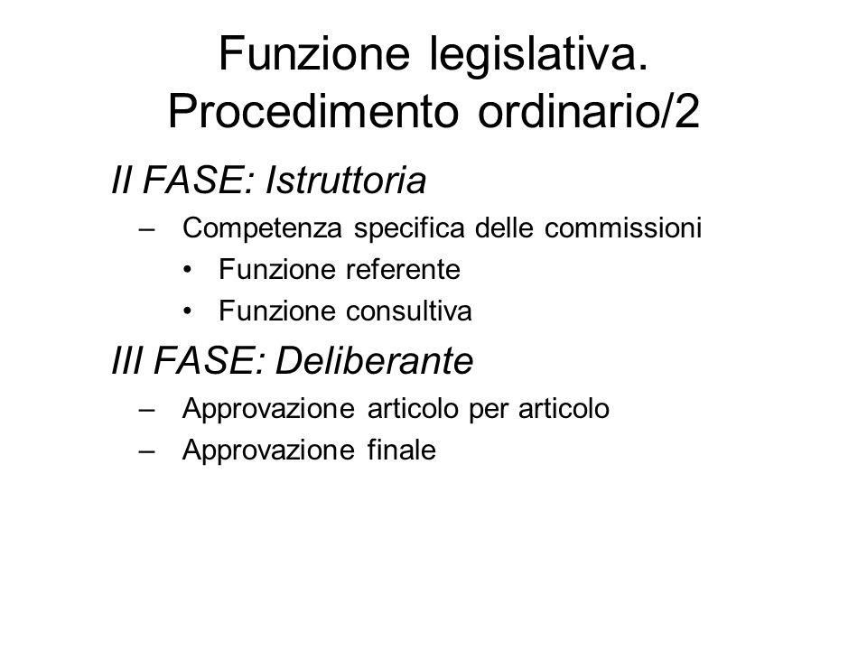 Funzione legislativa. Procedimento ordinario/2