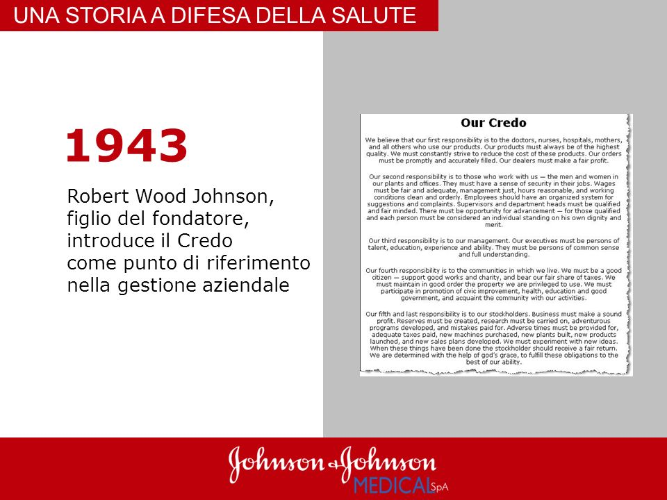 1943 UNA STORIA A DIFESA DELLA SALUTE Robert Wood Johnson,