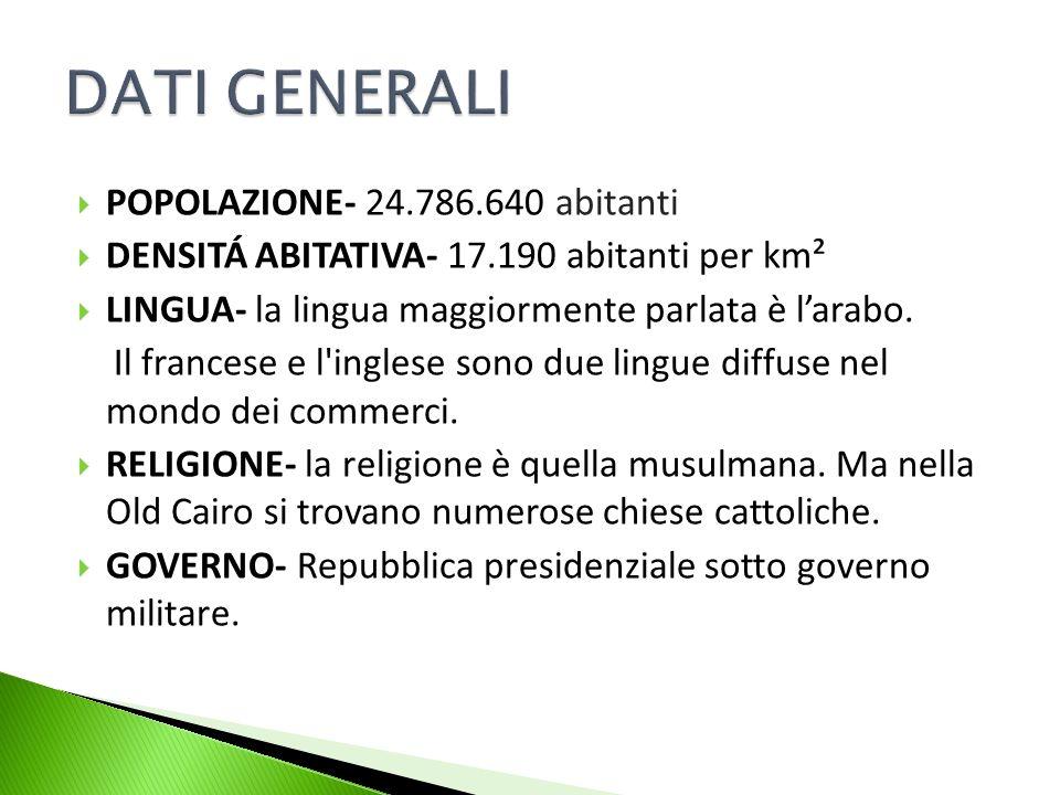 DATI GENERALI POPOLAZIONE- 24.786.640 abitanti