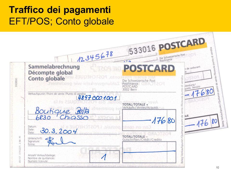 Traffico dei pagamenti EFT/POS; Conto globale