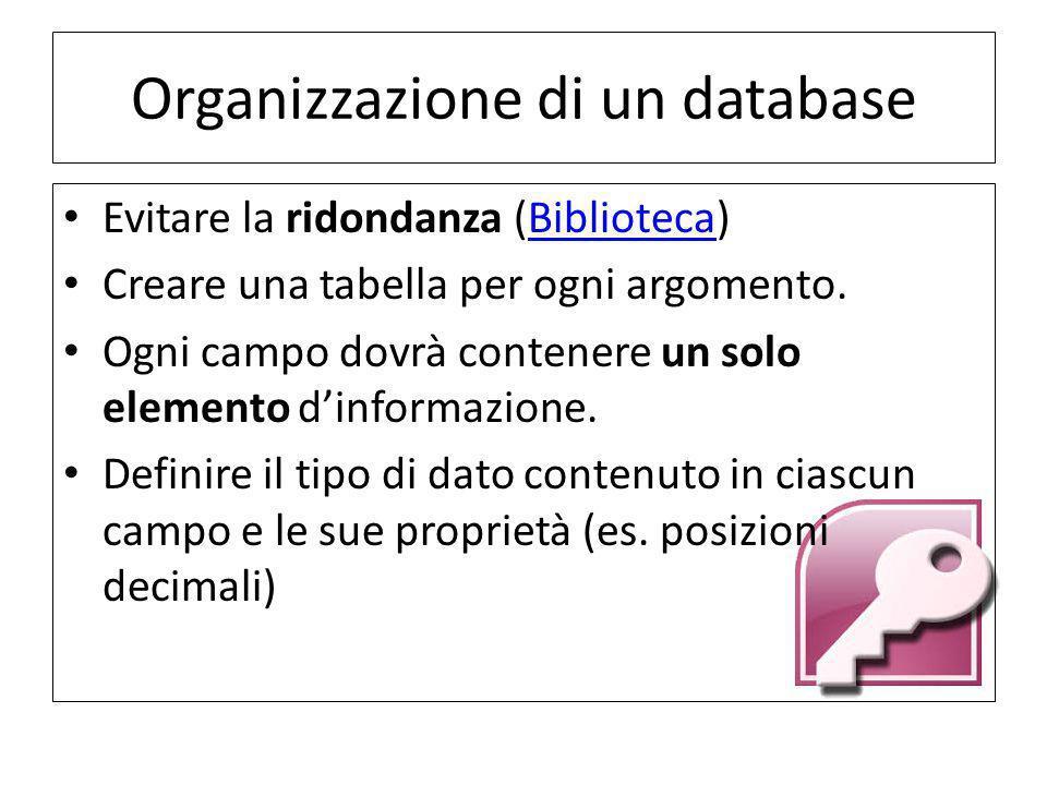 Organizzazione di un database