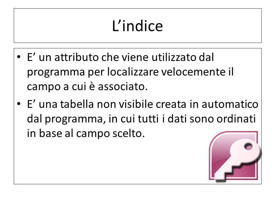 L'indice E' un attributo che viene utilizzato dal programma per localizzare velocemente il campo a cui è associato.