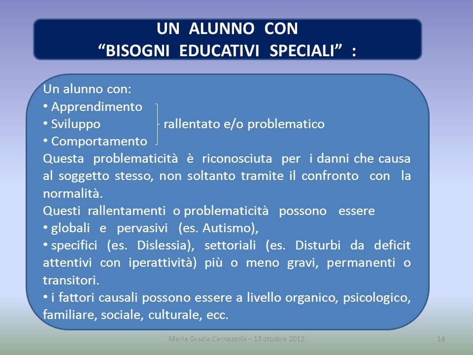 BISOGNI EDUCATIVI SPECIALI :