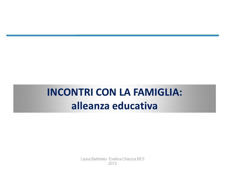 INCONTRI CON LA FAMIGLIA: alleanza educativa