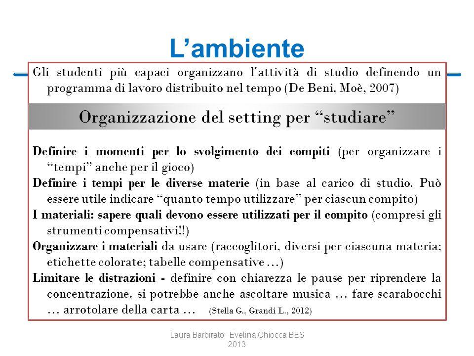L'ambiente Organizzazione del setting per studiare