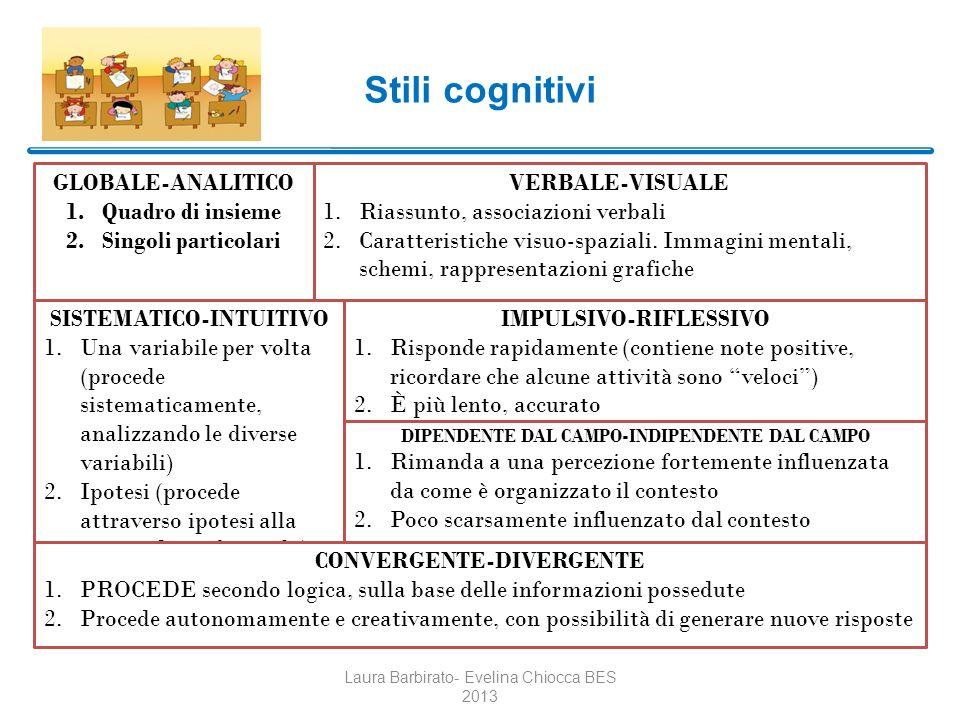 Stili cognitivi GLOBALE-ANALITICO Quadro di insieme