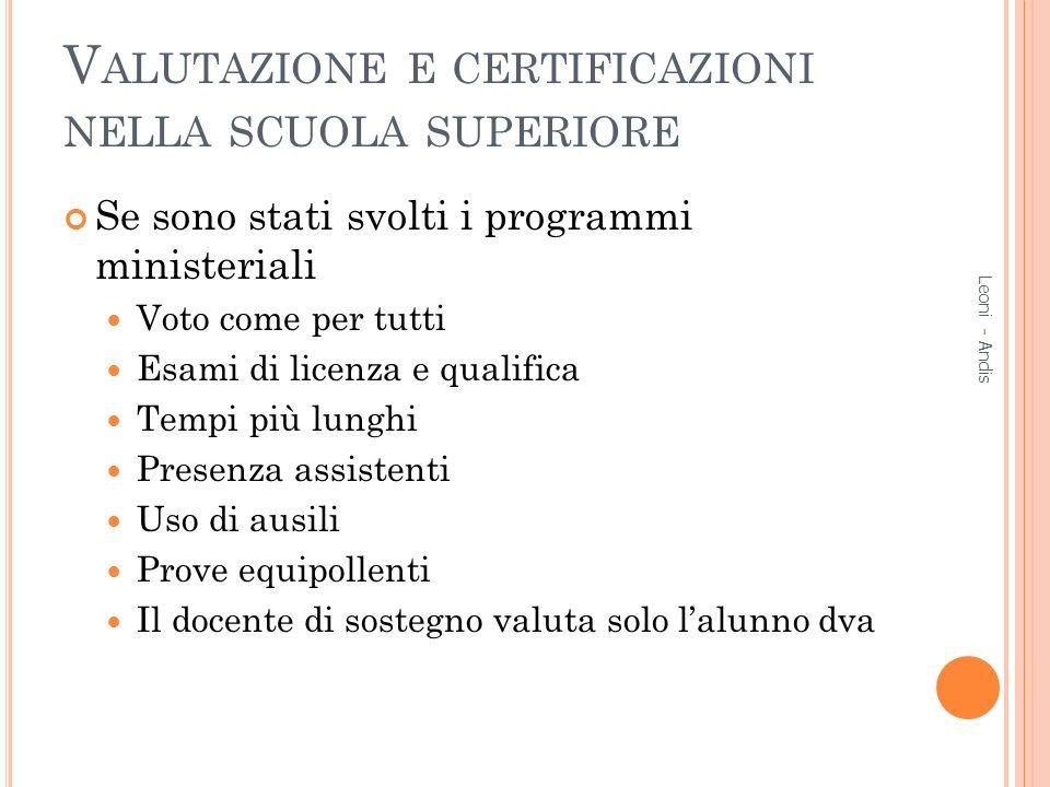 Valutazione e certificazioni nella scuola superiore