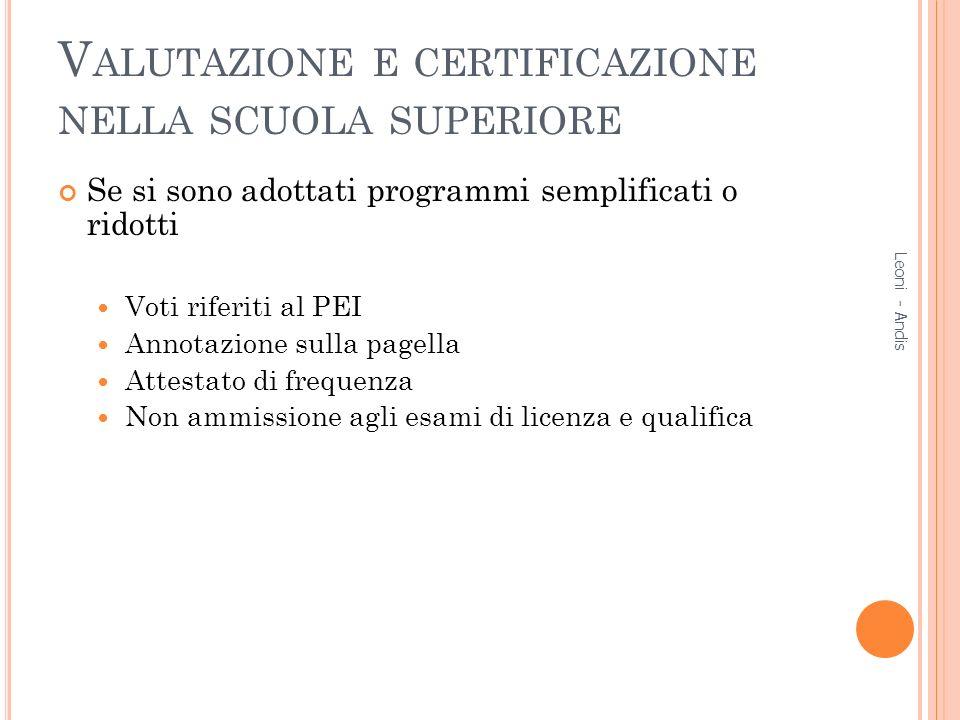Valutazione e certificazione nella scuola superiore