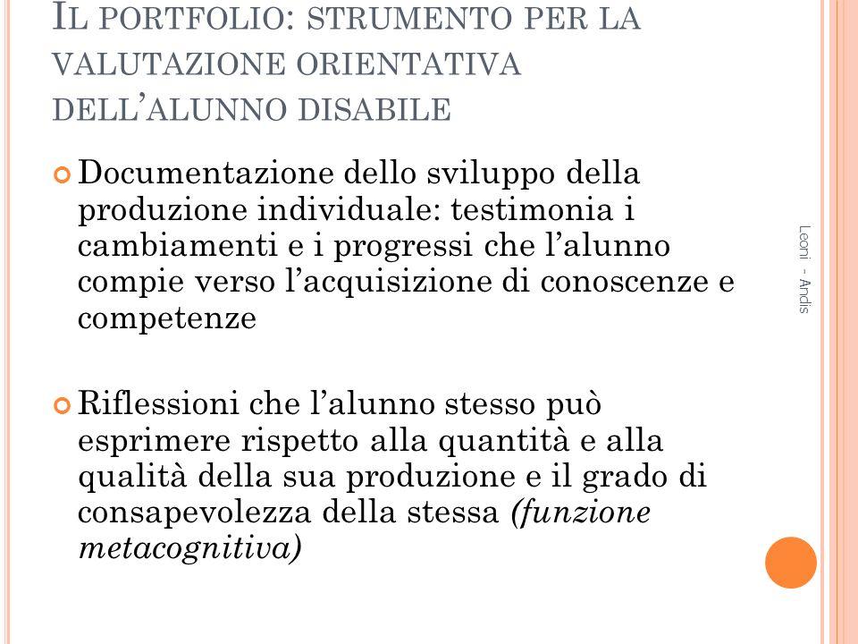 Il portfolio: strumento per la valutazione orientativa dell'alunno disabile