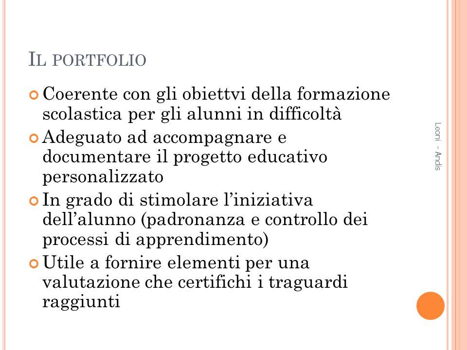 Il portfolio Coerente con gli obiettvi della formazione scolastica per gli alunni in difficoltà.