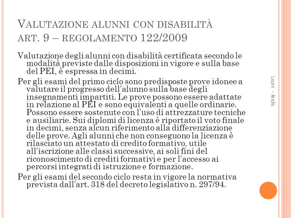 Valutazione alunni con disabilità art. 9 – regolamento 122/2009