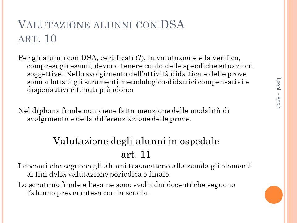 Valutazione alunni con DSA art. 10