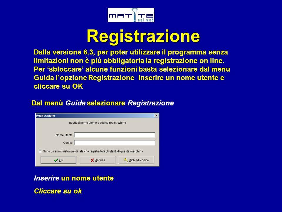 RegistrazioneDalla versione 6.3, per poter utilizzare il programma senza limitazioni non è più obbligatoria la registrazione on line.