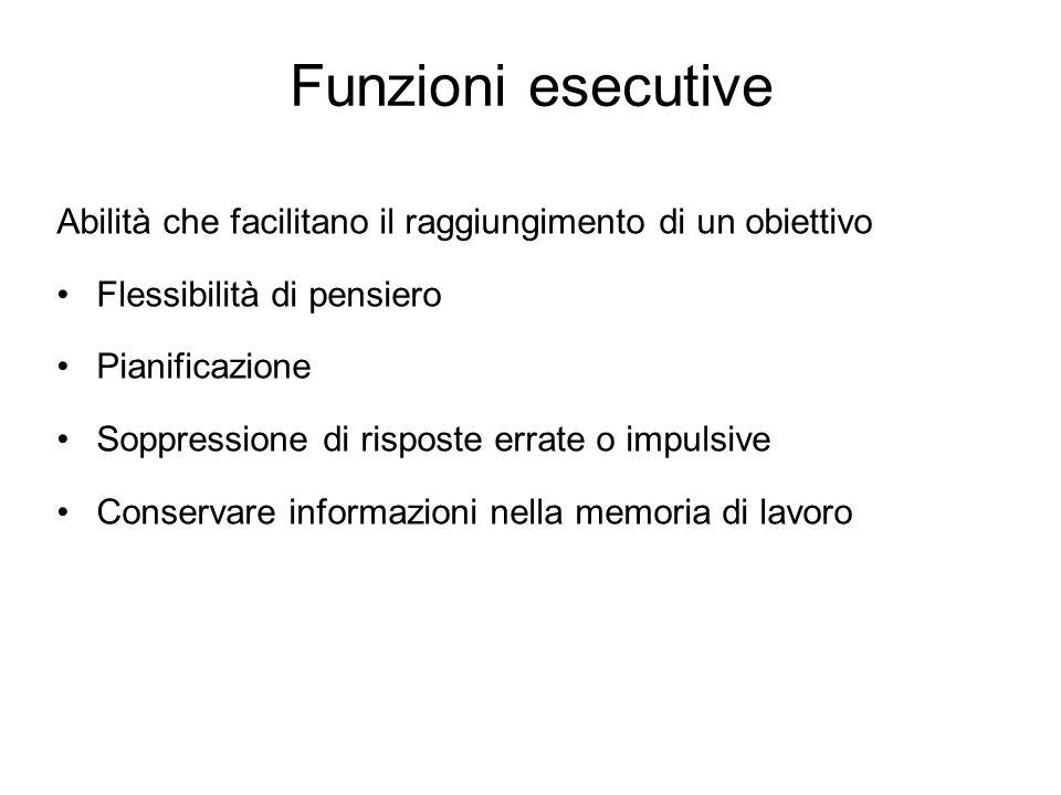 Funzioni esecutive Abilità che facilitano il raggiungimento di un obiettivo. Flessibilità di pensiero.