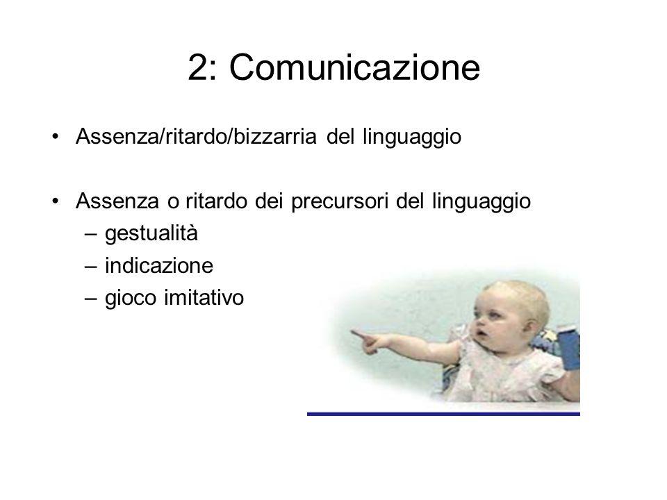 2: Comunicazione Assenza/ritardo/bizzarria del linguaggio
