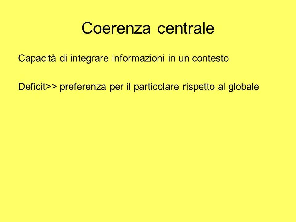 Coerenza centrale Capacità di integrare informazioni in un contesto