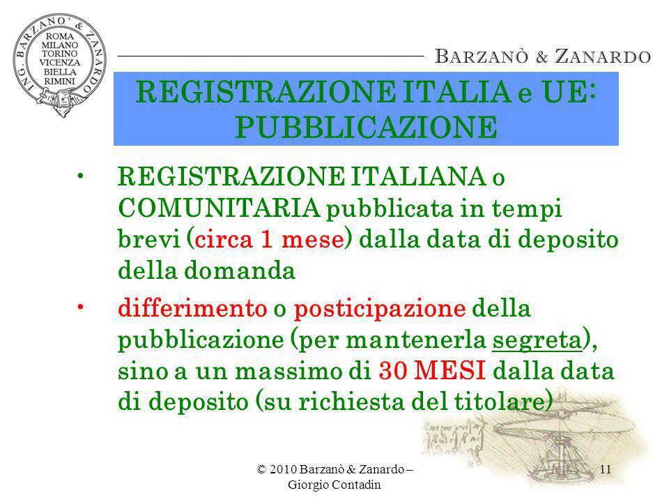 REGISTRAZIONE ITALIA e UE: PUBBLICAZIONE