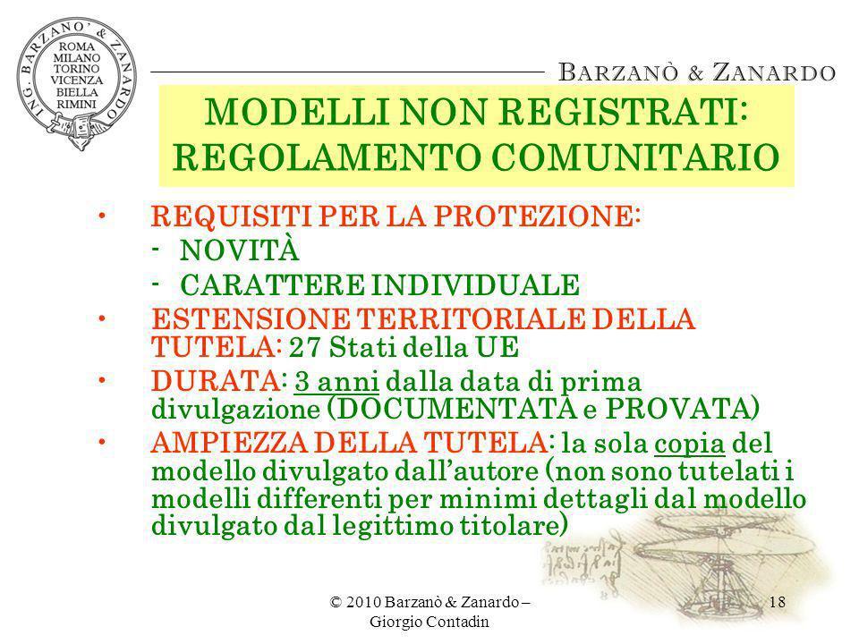 MODELLI NON REGISTRATI: REGOLAMENTO COMUNITARIO