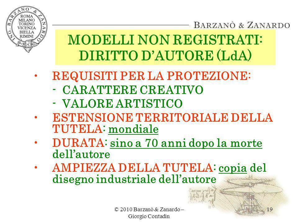 MODELLI NON REGISTRATI: DIRITTO D'AUTORE (LdA)