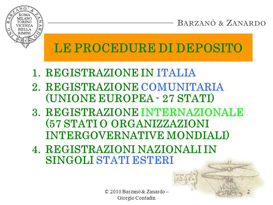 LE PROCEDURE DI DEPOSITO