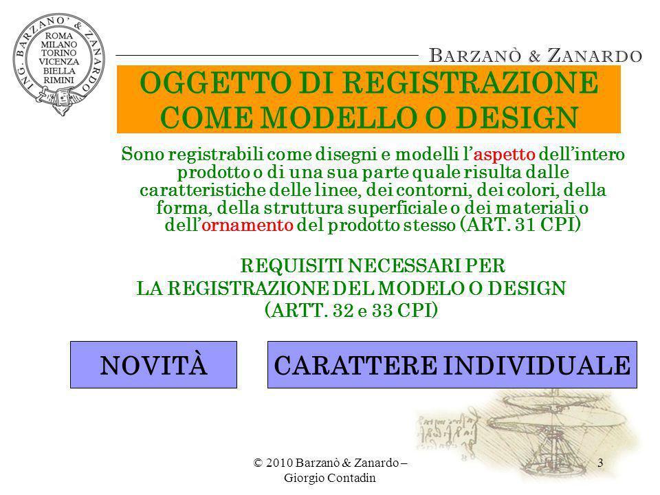 OGGETTO DI REGISTRAZIONE COME MODELLO O DESIGN