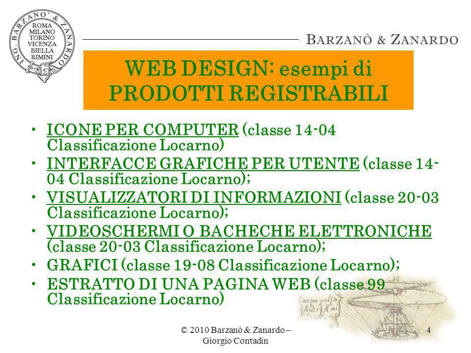 WEB DESIGN: esempi di PRODOTTI REGISTRABILI