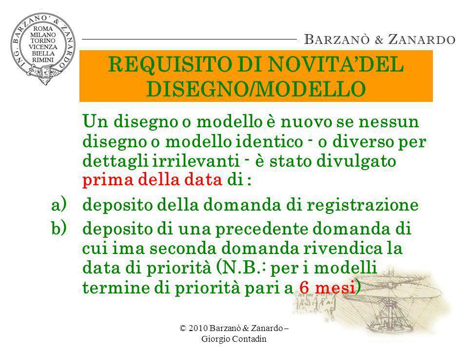 REQUISITO DI NOVITA'DEL DISEGNO/MODELLO