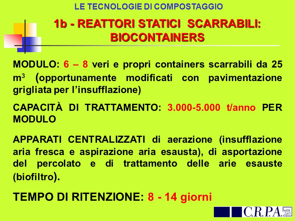 1b - REATTORI STATICI SCARRABILI: BIOCONTAINERS