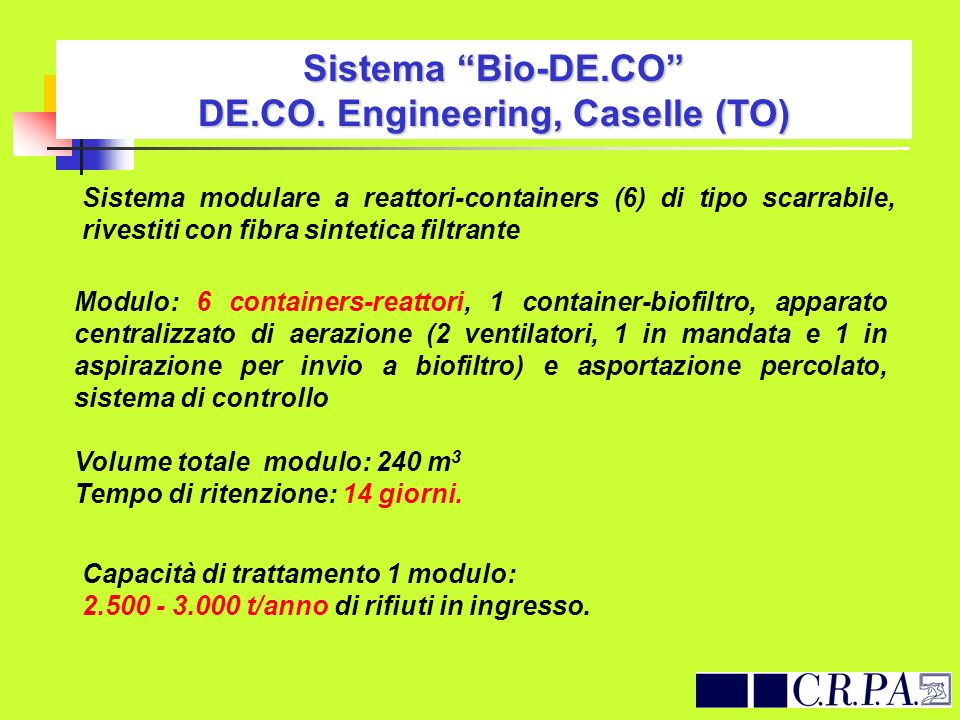Sistema Bio-DE.CO DE.CO. Engineering, Caselle (TO)