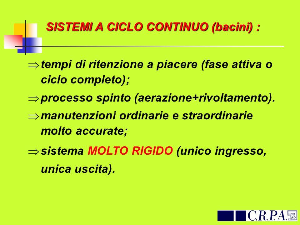 SISTEMI A CICLO CONTINUO (bacini) :