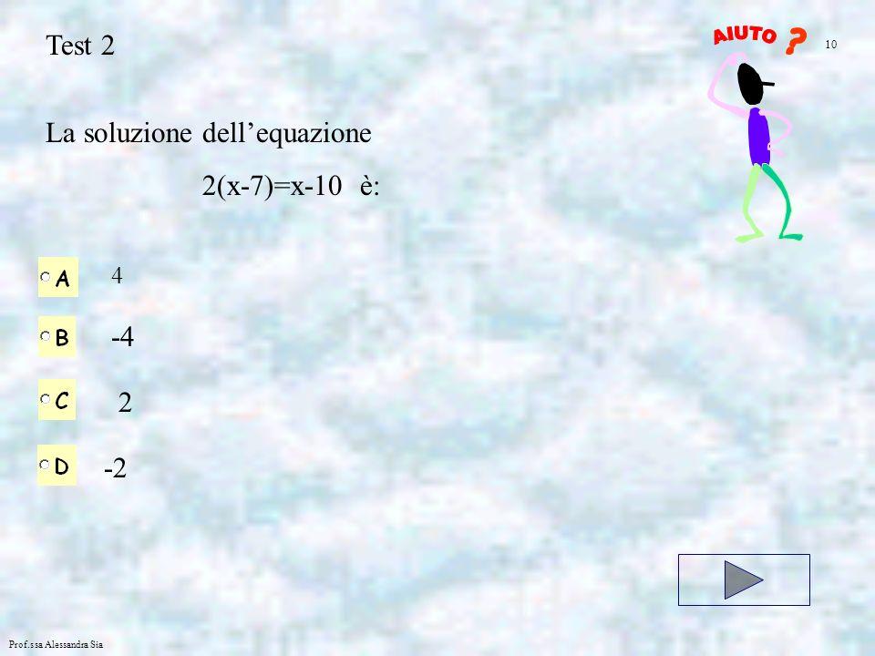 La soluzione dell'equazione 2(x-7)=x-10 è: