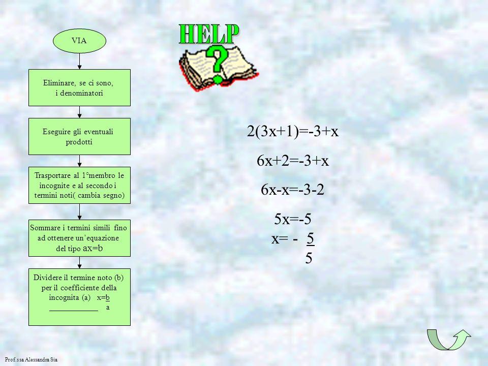 2(3x+1)=-3+x 6x+2=-3+x 6x-x=-3-2 5x=-5 x= - 5 5 HELP VIA