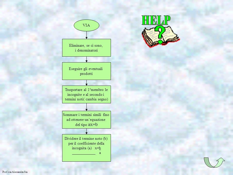 HELP VIA Eliminare, se ci sono, i denominatori Eseguire gli eventuali