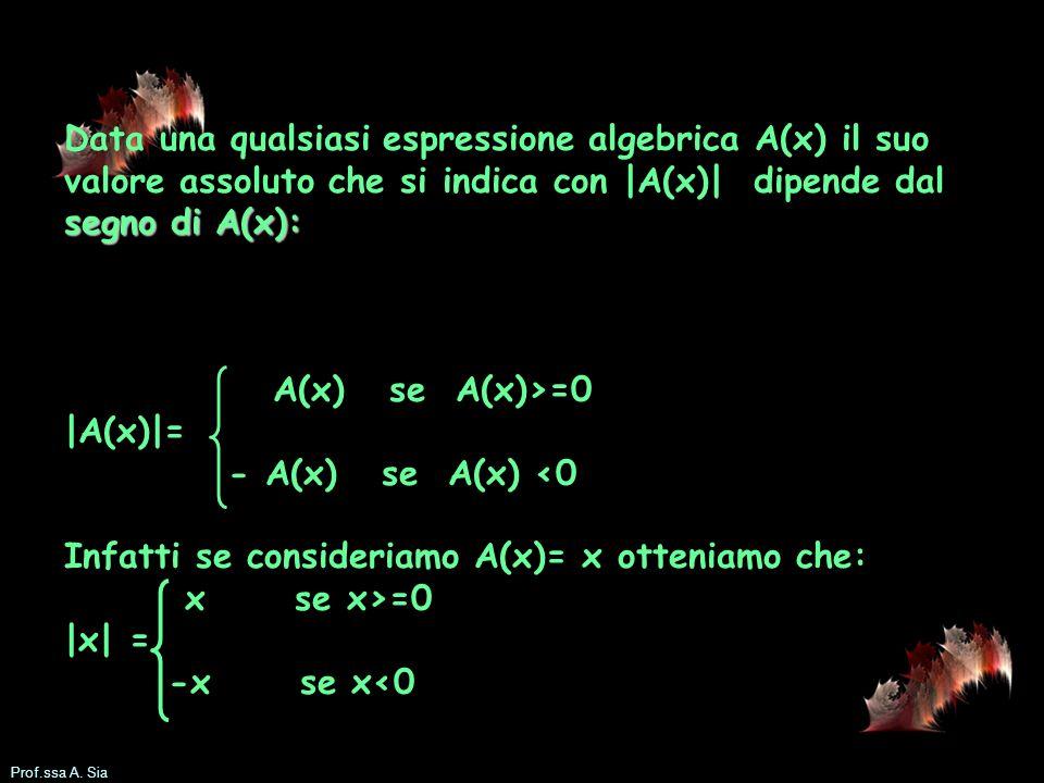 Data una qualsiasi espressione algebrica A(x) il suo