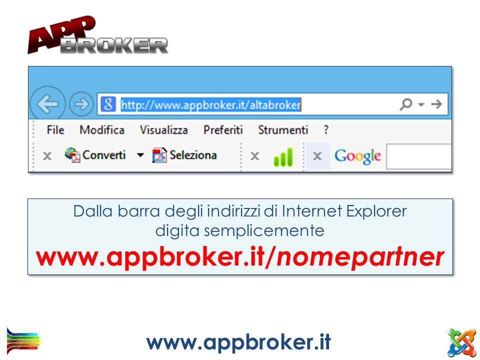 Dalla barra degli indirizzi di Internet Explorer