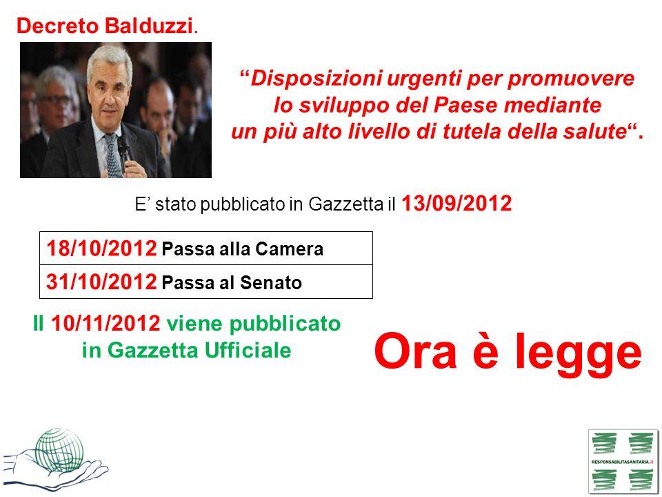 Ora è legge Decreto Balduzzi. Disposizioni urgenti per promuovere