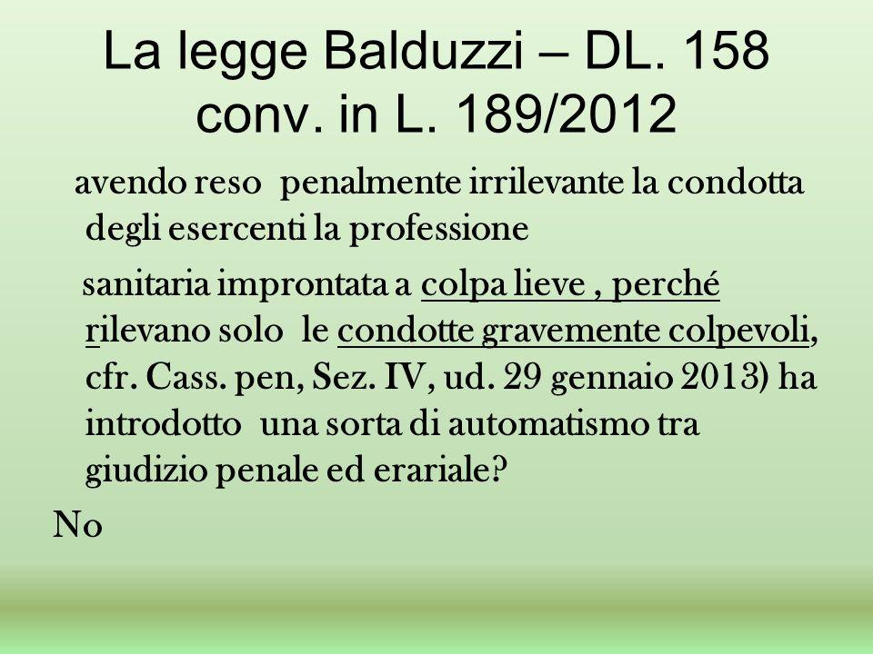 La legge Balduzzi – DL. 158 conv. in L. 189/2012